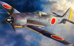 Picture war, art, painting, aviation, ww2, japanese army, Focke Wulf FW-190A-5