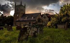 Picture grass, castle, cemetery, tombstones, gloomy, Wallpaper from lolita777