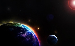 Picture the sun, stars, paint, planet, satellite, light and darkness