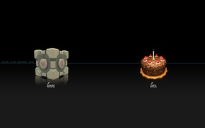 Picture Portal, cube, candle, cake