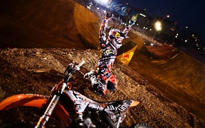 Picture light, motorcycle, helmet, motocross, Ryder, arena, spotlight, freestyle, KTM, red bull, x-fighters, red bull, Levi …