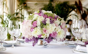 Picture table, roses, bouquet, restaurant, chrysanthemum, Roses, lilac, freesia, lilac, Bouquets, Freesia
