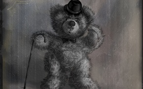 Picture hat, bear, cane, 156, Teddy, old photo