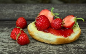 Picture food, strawberry, sandwich, sweet, delicious
