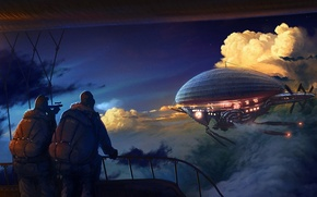 Picture clouds, people, Figure, the airship, 158