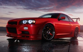 Picture the sky, red, red, skyline, r34, styling