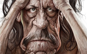 Picture eyes, Danny Trejo, face, wrinkles