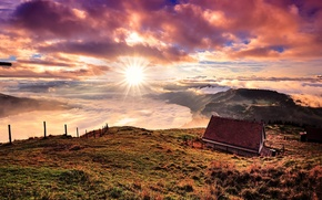 Picture the sun, clouds, mountains, house, Switzerland