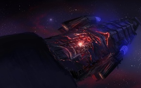 Wallpaper energy, space, stars, ship, art, space