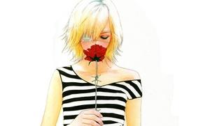 Picture strip, rose, blonde, white background, barbed wire, eye patch, bangs, Omae ga Sequence o Kowashitai …