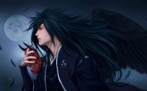 Picture night, the moon, wings, feathers, mask, Naruto, Naruto, art, Zetsuai89, uchiha powers, the man