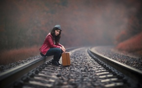 Picture girl, the way, rails, waiting, suitcase