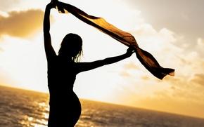Picture sea, summer, girl, silhouette, shawl