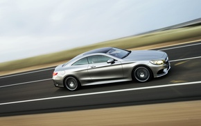 Picture grey, Mercedes-Benz, Auto, Road, Machine, Mercedes, Silver, Coupe, Side view, S-Class, Class