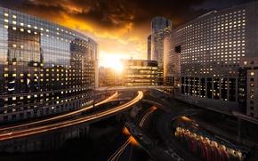 Wallpaper road, the sky, the sun, the evening, the city, home, Paris, France, bridges, clouds