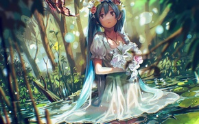 Picture water, girl, flowers, nature, butterfly, bouquet, anime, tears, art, vocaloid, hatsune miku, wreath, tsukun112