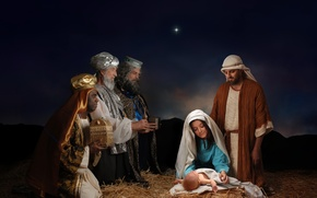 Wallpaper the birth of Christ, Christmas, star, night, the gifts of the Magi