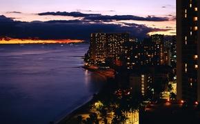 Wallpaper lights, the evening, shore, building