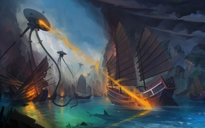 Wallpaper sea, fantasy, fiction, ship, robots, art, aliens