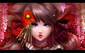 Picture flowers, face, portrait, bow, ears, Kuro Otome Youkai za