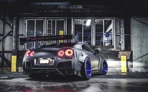 Picture Nissan, GT-R, Car, Side, Tuning, Wheels, Spoiler, Rear, Liberty Walk, LB Perfomance