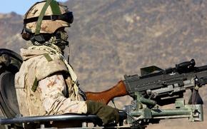 Picture weapons, soldiers, equipment, machine gun