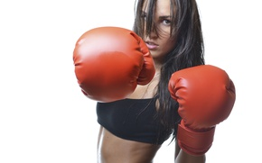 Wallpaper boxing gloves, beat, woman