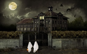 Picture Halloween, CHILDREN, The SKY, CLOUDS, HOUSE, NIGHT, The MOON, WHITE, CLOUDS, The BUILDING, PACK, BIRDS, …