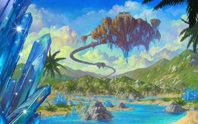 Picture road, clouds, landscape, river, palm trees, hills, crystals, lineage 2, flying island