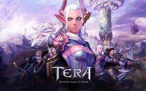 Picture weapons, tower, armor, elves, corset, elf, blue eyes, white hair, characters, Tera, pointy