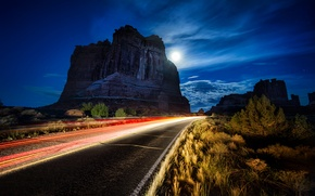Picture road, night, rock, rock, arch, road, USA, night, usa, Utah, utah, arches national park