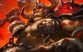 Wallpaper hammer, art, WoW, World of Warcraft, Ogre, Hearthstone, Blackrock Mountain, Highlord Omokk, Chief Amock