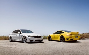Picture bmw, white, wheels, porsche, tuning, front, face, germany, low, back, stance, f30, yelow, f80, 911 …