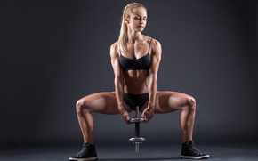 Picture model, blonde, pose, workout, fitness, dumbbell, toned body, sculpted