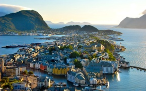 Picture sea, landscape, mountains, the city, home, Norway, architecture, Norway, trees.