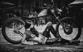 Picture girl, street, shorts, pavers, Mike, brunette, motorcycle, holes, tights, Daniel Ilinca