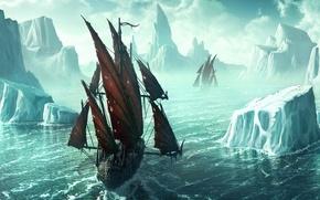 Wallpaper figure, ship, iceberg, 152, Kerem Couplets, ice