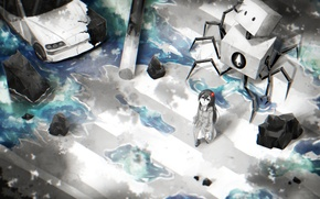 Picture machine, flower, water, girl, robot, anime, art, the transition, samael