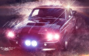 Picture night, fog, fire, lights, Mustang, Ford