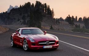 Picture Mercedes-Benz, red, SLS