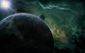 Picture space, nebula, star, planet, satellite, art, render