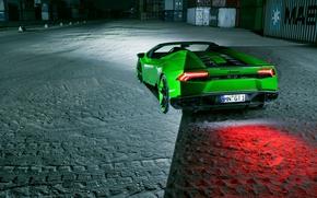 Picture auto, green, Lamborghini, supercar, rear view, Spyder, exhausts, Novitec, Torado, Huracan, brake light