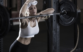 Picture woman, workout, fitness, gym, fatigue, perspiration, weight bar, burning calories