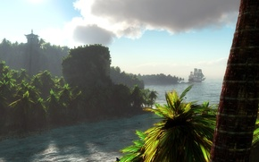 Wallpaper landscape, tropics, river, palm trees, ship, sailboat, art, trunk, klontak