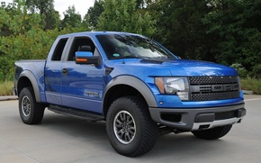 Picture trees, blue, background, Ford, Ford, jeep, SUV, Raptor, Raptor, pickup, the front, F-150, SVT, F-150, ...