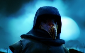 Picture night, mask, bow, hero, Raven, Strife, MOBA, Raven, Rook