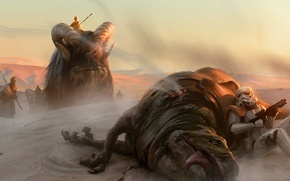 Picture animals, desert, Star Wars, art, an Imperial, Tatooine, sand people
