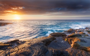 Wallpaper sea, landscape, sunset
