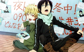 Picture labels, two, shawl, two guys, noragami, yato, yukine, a homeless God, toka adachi, leaflets