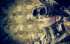 Picture girl, style, wire, hat, glasses, steampunk